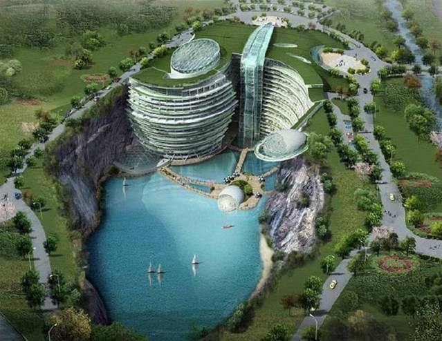 بالصور فندق على شكل شلال في الصين 466 5