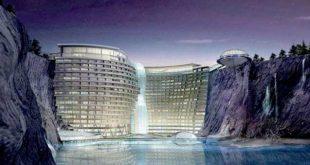 فندق في الصين على شكل شلال , احدث صور لفنادق الصين