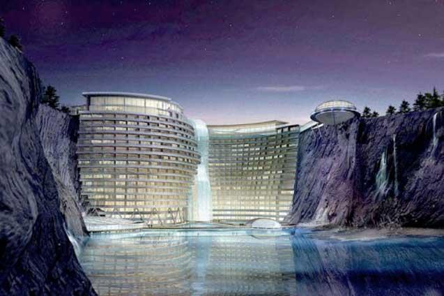 صور فندق على شكل شلال في الصين