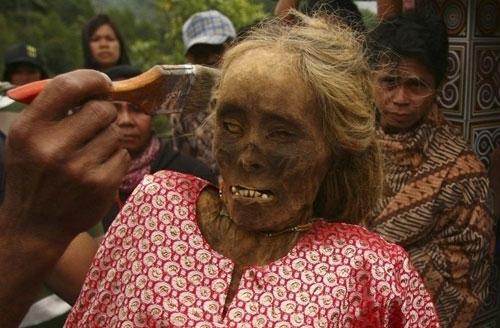 صوره في اندونسيا يخرجون الجثث لتغير ملابسها كل 3 سنوات
