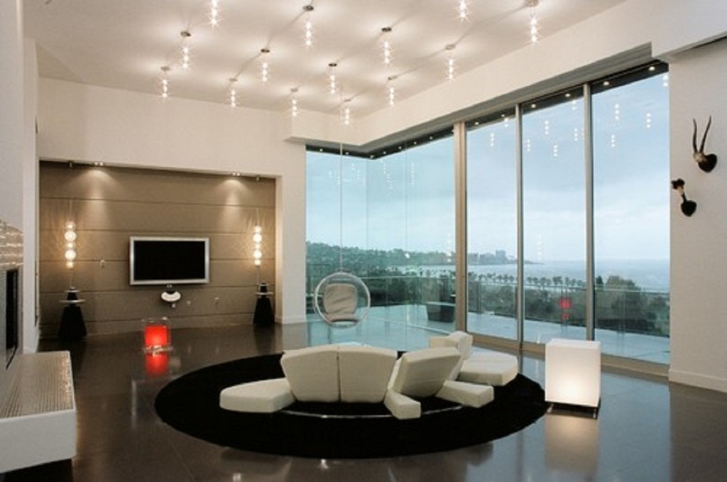 صورة اضاءات غرف جلوس , ديكورات مميزه