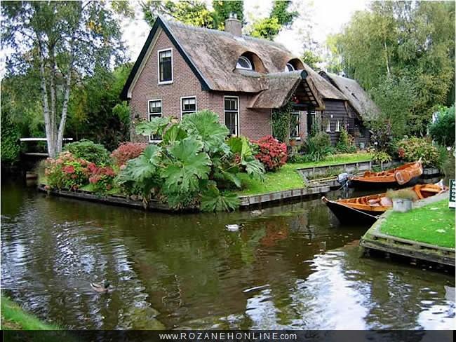 صورة قرية بدون شوارع في هولندا , تبعث الرضا والطمانينة