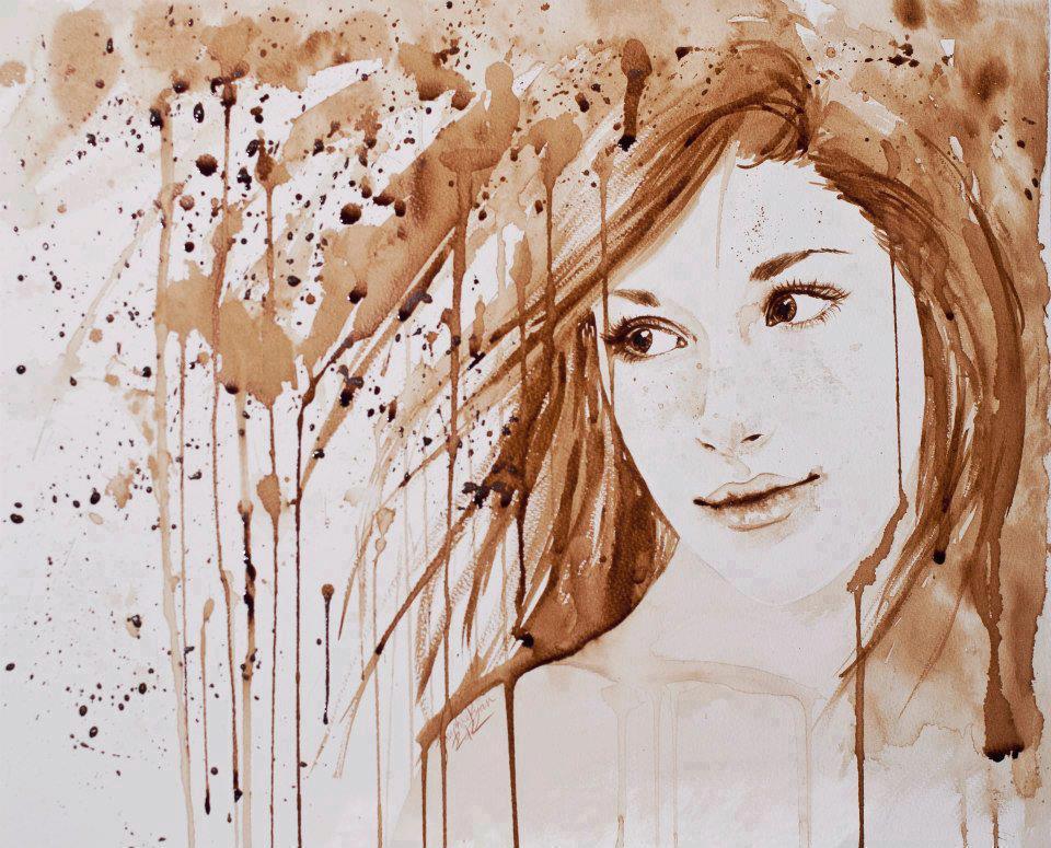 صورة فن الرسم بالقهوة , من احدث الفنون الجديده