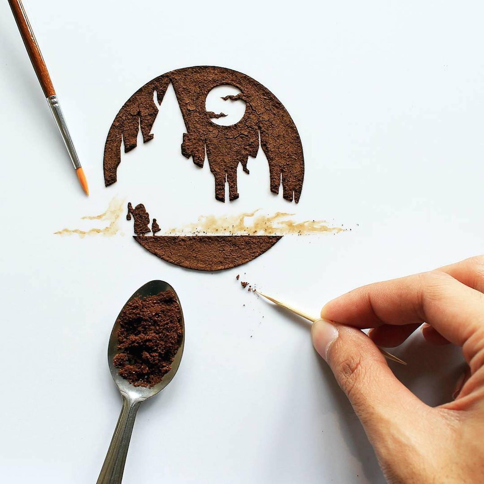 بالصور فن الرسم بالقهوة , من احدث  الفنون الجديده 3812 2