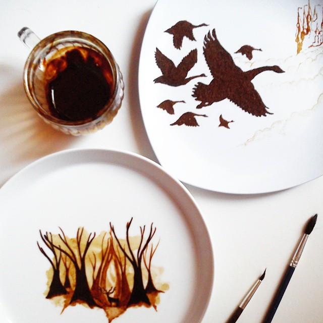 بالصور فن الرسم بالقهوة , من احدث  الفنون الجديده 3812 5