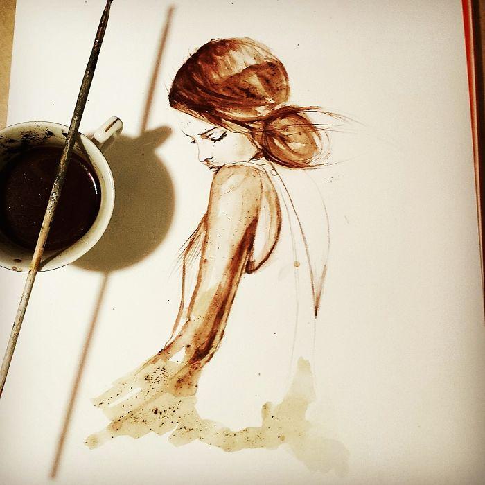 بالصور فن الرسم بالقهوة , من احدث  الفنون الجديده 3812 7