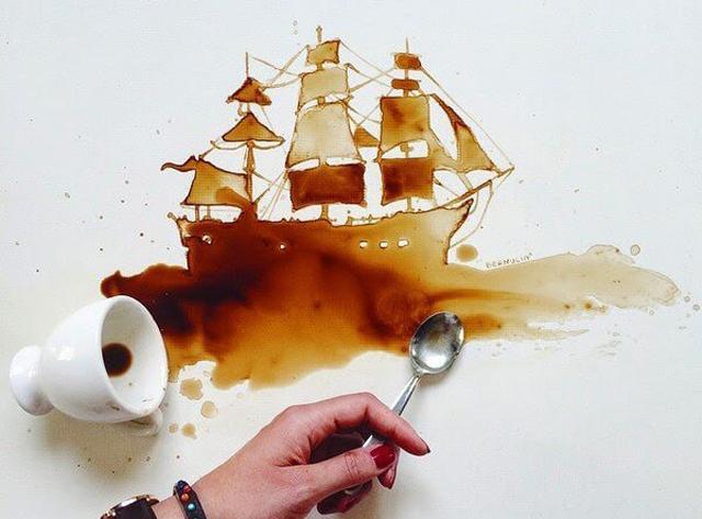 بالصور فن الرسم بالقهوة , من احدث  الفنون الجديده 3812 9