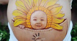 صوره الرسم على بطن الحامل , صور امهات اخر الزمن