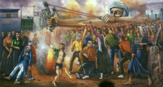 صورة الفن التشكيلي الفلسطيني , مجموعه من الرسومات التى تعبر عن الحياه الفليسطينيه