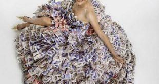 فستان من النقود , صور تصميم اجمل فستان بمليون ريال