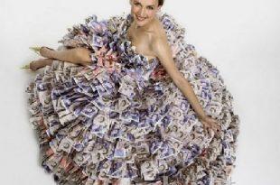 صوره فستان من النقود , صور تصميم اجمل فستان بمليون ريال