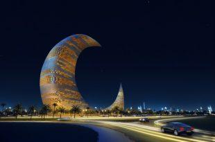 صورة برج الهلال في دبي , صور ناطحات السحاب علي شكل هلال