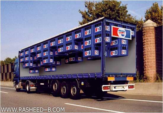 صور فن الرسم على الشاحنات , صور اعلانات ثلاثية الابعاد