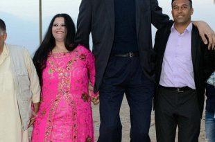 صور اطول رجل في العالم , اطول رجل في العالم يتزوج من سورية ويصفها بانها حب حياته