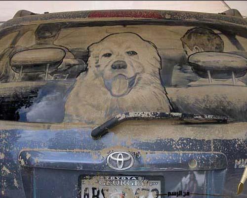 صورة الرسم على زجاج السيارات , فن الرسم بالتراب والغبار على زجاج السيارات