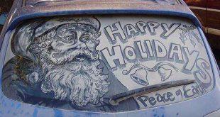 الرسم على زجاج السيارات , فن الرسم بالتراب والغبار على زجاج السيارات