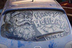 صور الرسم على زجاج السيارات , فن الرسم بالتراب والغبار على زجاج السيارات