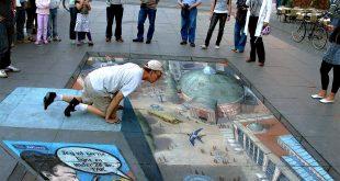 صوره فن الرسم على الشوارع , ابداع بلا حدود برسومات ثلاثيه