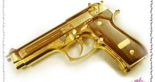 صوره صور اسلحه من ذهب  , صور اسلحه صدام حسين الذهبيه