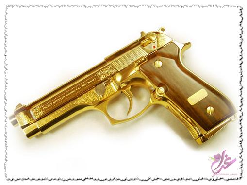 صور صور اسلحه من ذهب  , صور اسلحه صدام حسين الذهبيه