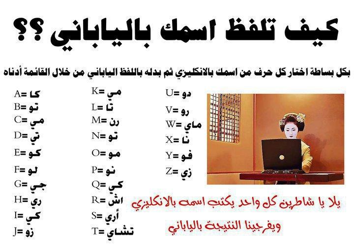 صوره اكتب اسمك بالياباني , عربى يابانى