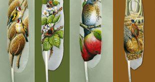 صور لوحات فنية رائعة على ريش البجع , رسومات اغرب من الخيال