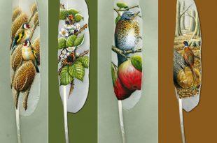 صوره لوحات فنية رائعة على ريش البجع , رسومات اغرب من الخيال
