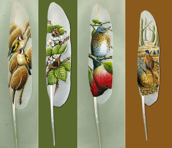 صورة لوحات فنية رائعة على ريش البجع , رسومات اغرب من الخيال