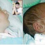 طفل يولد واسمه مكتوب على خده , صور رائعة لقدرة الله