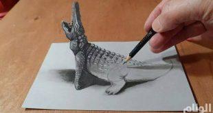 صورة رسم ثلاثي الابعاد بقلم الرصاص , اروع واجمل رسومات الخداع البصري