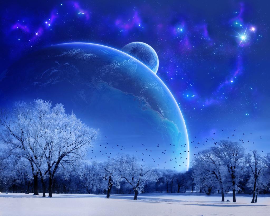 صوره لاشجار باللون الازرق