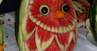 صوره النحت على البطيخ , اشكال رائعة خرافية من فن النحت
