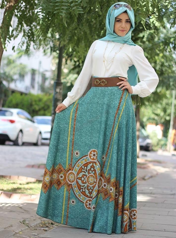 صورة اجمل فساتين محجبات لعيد الفطر والاضحى ولكل الاعياد , مجموعه جديدة من ازياء المحجبات لبس العيد